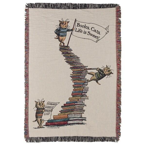 "Edward Gorey Cats & Books Throw Blanket - 100% Cotton - 50"" x 60"" - 50 in. x 60 in."