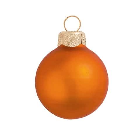"12ct Pumpkin Orange Matte Glass Finish Christmas Ball Ornaments 2.75"" (70mm)"