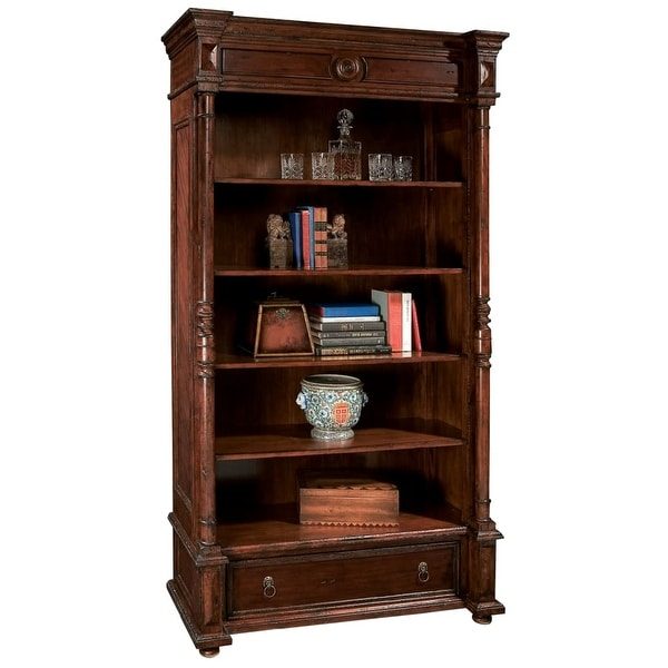 shop hekman 81223 antique 45 inch wide wood bookcase with four adjustable shelves free. Black Bedroom Furniture Sets. Home Design Ideas
