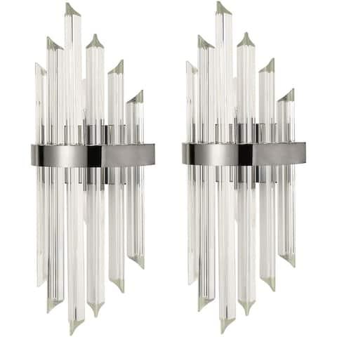 Ferentino Modern Glass Rod Wall Sconces Titanium Black Finish Set of 2