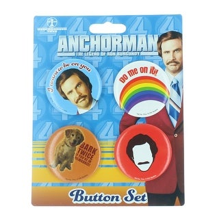 "Anchorman: The Legend of Ron Burgundy 4-Piece Button Set ""I Want To Be On You"""