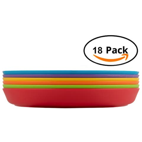 Plastic Plates For Kids18-Piece Round Plates Multicolor