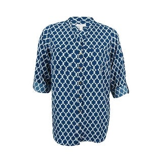 Charter Club Women's Plus Size Printed Shirt - Cerulean Night Combo - 0X