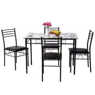 Gymax 5 Piece Dining Set Glass Top Table & 4 Upholstered Chairs Kitchen Room Furniture