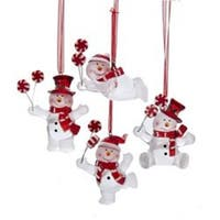 """Pack of 12 Red and White Frosted Snowmen with Peppermints Christmas Ornaments 3.5"""""""