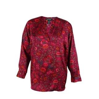 Ralph Lauren Women's Floral Print Split Neck Shirt - multi - ps