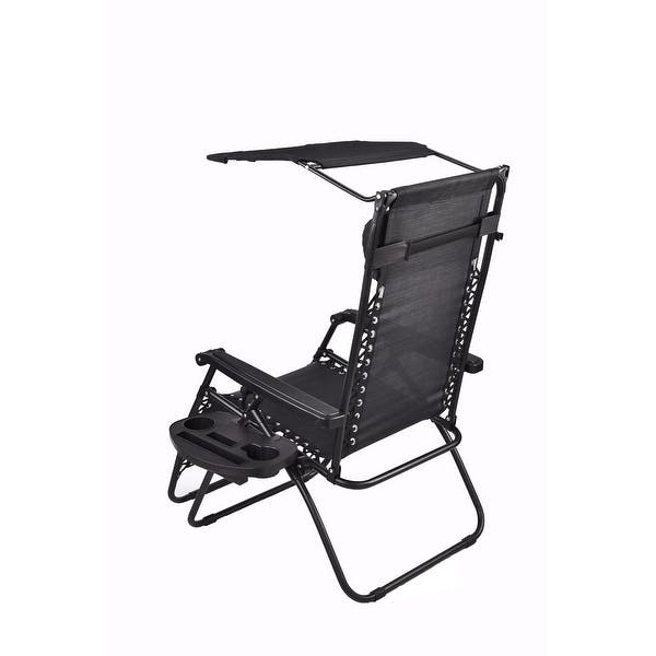 Outdoor Zero Gravity Chair Pool Lounge Patio Beach Yard Garden With Canopy Sunshade Utility Tray Cup Holder Black Two Pool Pack On Sale Overstock 32207548