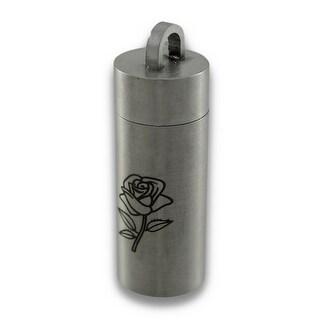 Engraved Rose Stainless Steel Chamber Stash Pendant Pill Vial