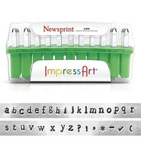 ImpressArt 33-Piece Deluxe Lowercase Alphabet Stamps 'Newsprint' 1/8 Inch (3mm) - 1 Set