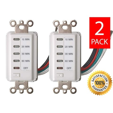 Bathroom Fan Auto Shut Off 5-10-15-30 Minute Outlet - Countdown Electrical Wall Switch Timer, White Plug in Outlets (2 Pack)