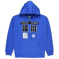 Doctor Who Classic Mens Zip Hoodie Tardis Doors Black Window