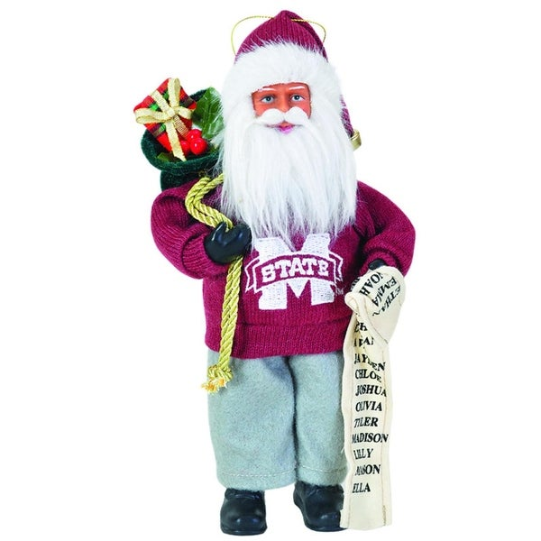 "9"" NCAA Mississippi State Bulldogs Santa Claus with Good List Christmas Ornament"