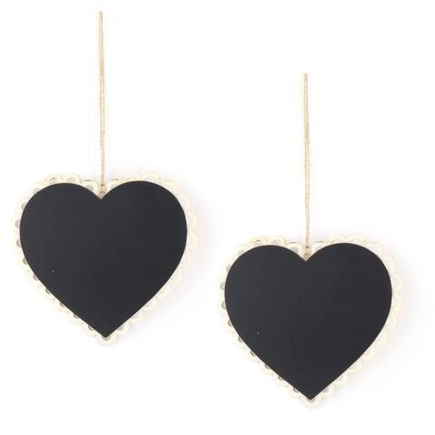 Wedding Wood DIY Heart Design Table Decor String Hanging Label Memoboard 2pcs - Black
