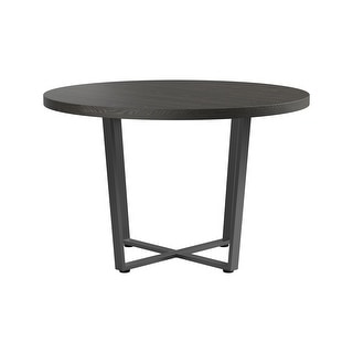 Link to Carbon Loft Anatolio Dark Oak and Matte Black Round Dining Table Similar Items in Dining Room & Bar Furniture
