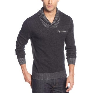 INC International Concepts Nick Shawl Collared Sweater Medium Black & Grey - M