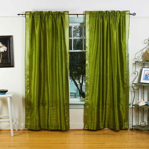 Olive Green Rod Pocket Sheer Sari Curtain / Drape / Panel - Piece