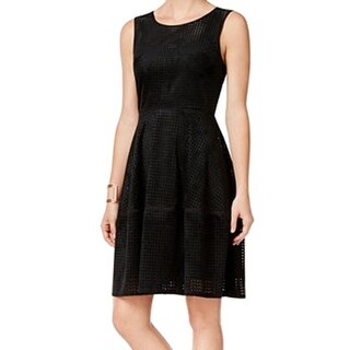 Tommy Hilfiger NEW Black Womens 4 Faux-Suede Perforated A-Line Dress