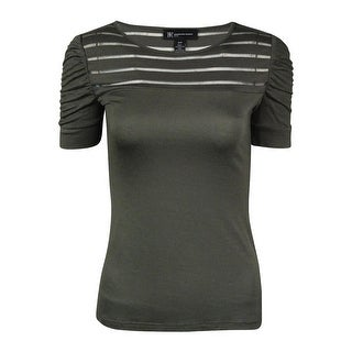 INC International Concept Women's Illusion Stripe Ruched Top