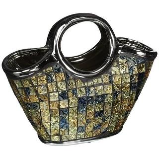 Dolce Mela DMCV003 Purse Decorative Ceramic & Glass Floral Vase - 10.75 x 5.25 x 9.5 in.