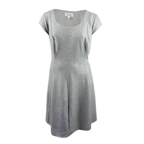 Robbie Bee Women's Plus Size Printed Chevron Fit & Flare Dress - Metallic