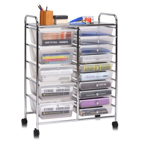 Costway 15 Drawer Rolling Storage Cart Tools Scrapbook Cosmetics Paper Organizer