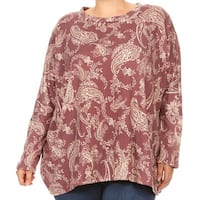 Women Plus Size Long Sleeve Relaxed Paisley Pattern Knit Top Tee Shirt Mauve