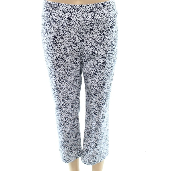 89d5871a728 Shop Ilusion NEW Blue White Women Size 16 Paisley Print Capris Cropped Pants  - Free Shipping On Orders Over  45 - Overstock.com - 19556931