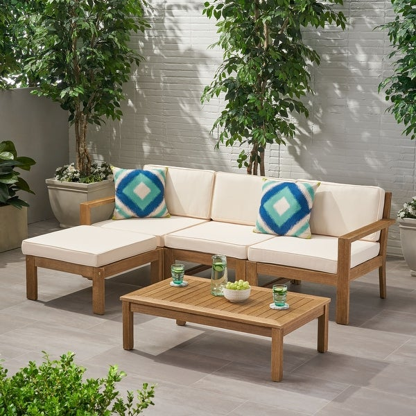 Santa Ana Acacia Wood 3-seater Outdoor Sectional with Cushions by Christopher Knight Home. Opens flyout.