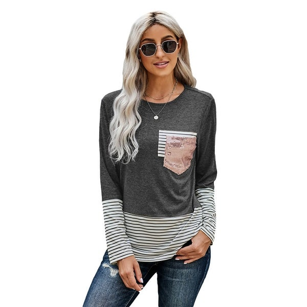 Cali Chic Women's Long Sleeve Shirt Celebrity Stripe Pocket Sequins Splicing O-neck Top. Opens flyout.