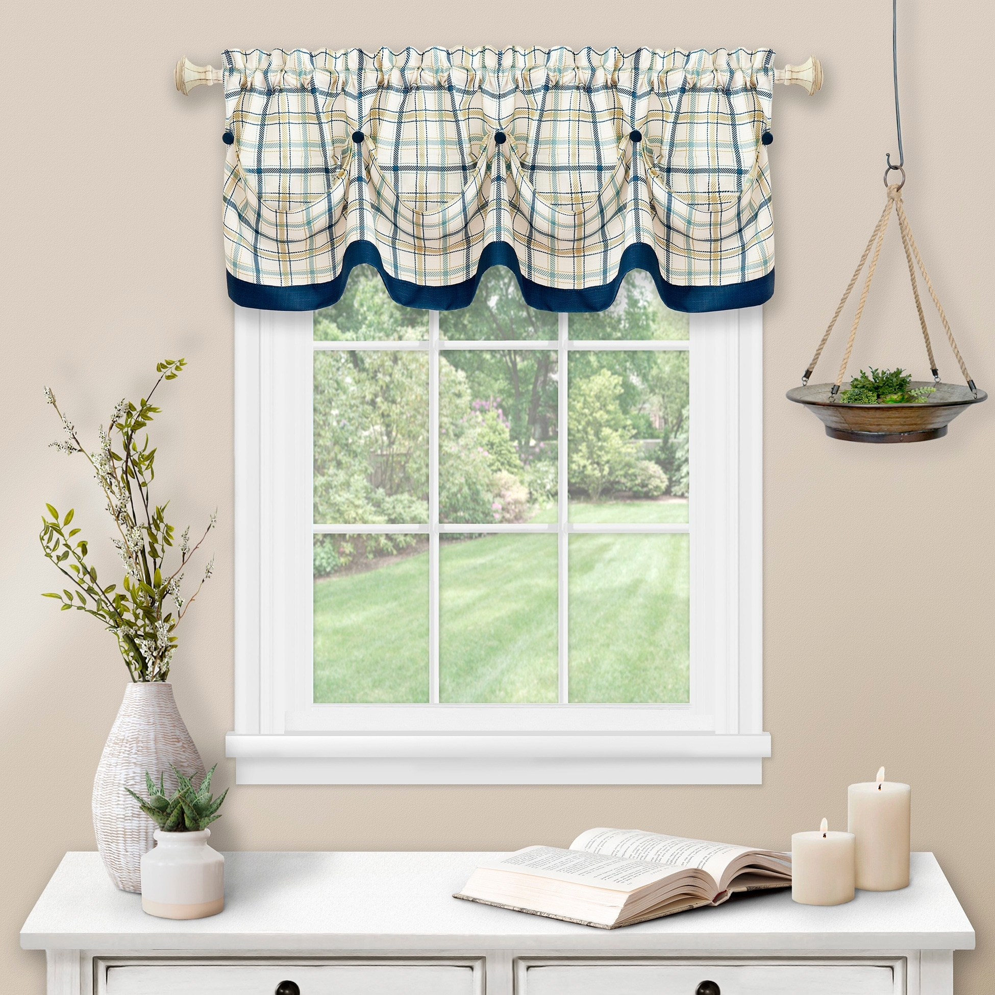 Tattersall Tuck Valance With Buttons 58x14
