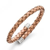 Chisel Stainless Steel Polished Adjustable Tan Woven Leather Bracelet