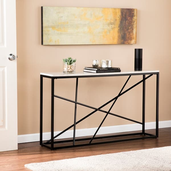 Kerley Faux Marble Skinny Console Table Matte Black Overstock 18024745