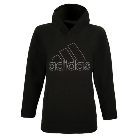 adidas Women's Essential Linear Outline Pullover Hoodie - Brown/Grey - XS