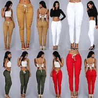 Women's Casual Pocket Drawstring High Waist Stretch Skinny Pencil Pants Trousers