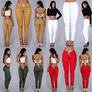 Women's Casual Pocket Drawstring High Waist Stretch Skinny Pencil Pants Trousers