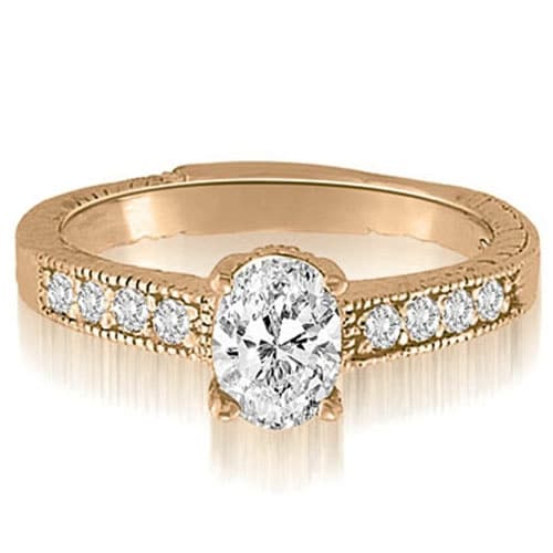 0.70 cttw. 14K Rose Gold Antique Milgrain Round Cut Diamond Engagement Ring
