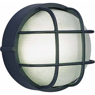 """Volume Lighting V8790 Nautical Outdoor 1 Light 7.5"""" Height Outdoor Wall Sconce with Frosted Ribbed Glass"""