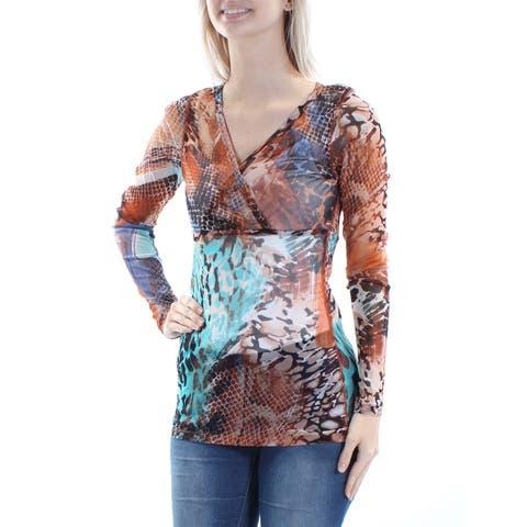 KAREN KANE Womens Brown Sheer Printed Long Sleeve V Neck Top Size: S