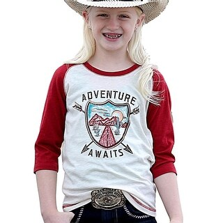Cruel Girl Western Shirt Girl 3/4 Sleeve Raglan Trim Cream