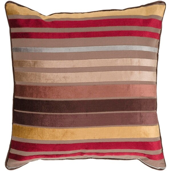 "22"" Chocolate Brown, Tan, and Cherry Red Striped Decorative Throw Pillow - Down Filler"