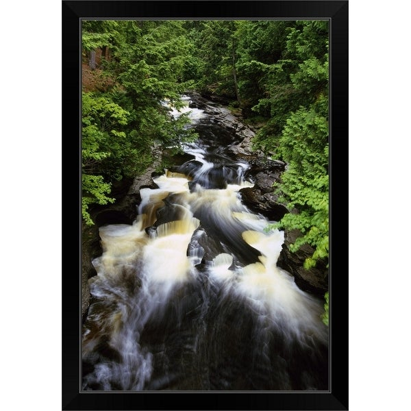 """""""Water rushing over rocks, Presque Isle River, Porcupine Mountains State Park, Michigan"""" Black Framed Print"""