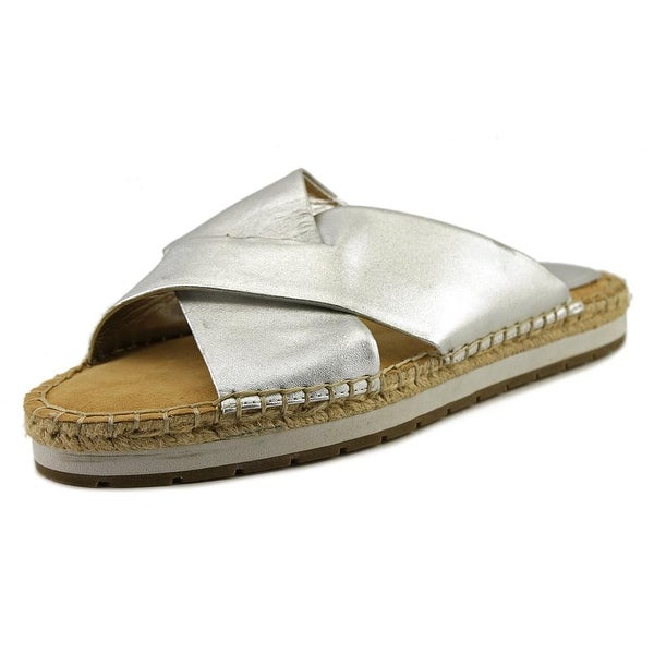 Kenneth Cole Reaction Clem-Entine Women Open Toe Leather Silver Slides Sandal