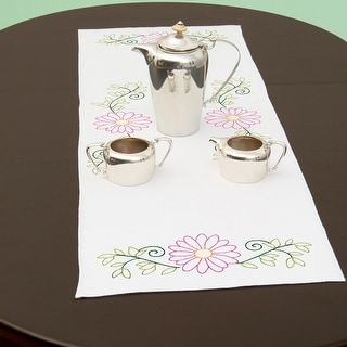 """Stamped Table Runner/Scarf 15""""X42""""-Daisies"""