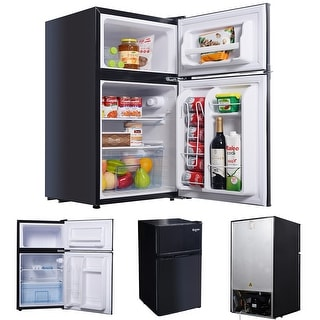 Costway Black 2 Door 3.4 Cu. Ft Compact Refrigerator Freezer CFC Free Furniture Home
