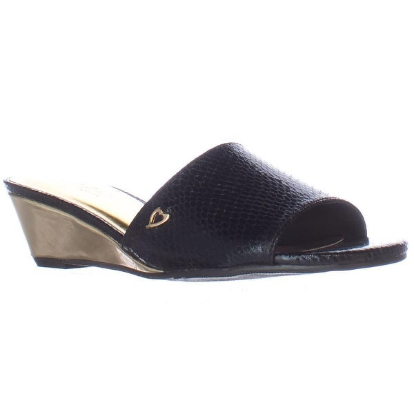 TS35 Riya Low Wedge Slide Sandals, Black