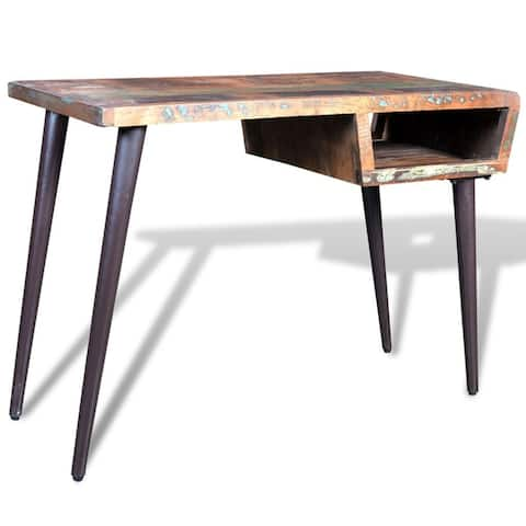 vidaXL Reclaimed Wood Desk with Iron Legs
