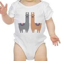 Llama Pattern Infant Bodysuit Gift White