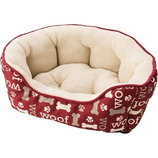 """Sleep Zone 31"""" Woof Step-In Scallop Shape Dog Bed-Burgundy"""
