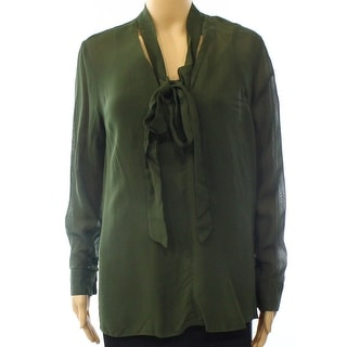 TopShop NEW Solid Green Women's Size 6 Neck Tie Long Sleeve Blouse