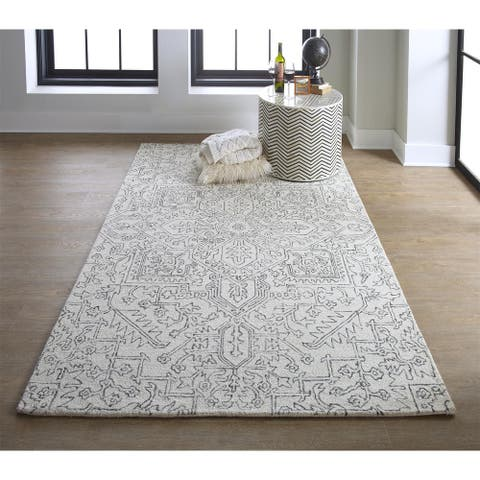 Grand Bazaar Natal Ivory/Gray Transitional Hand Tufted Wool Tufted Modern & Contemporary Rug